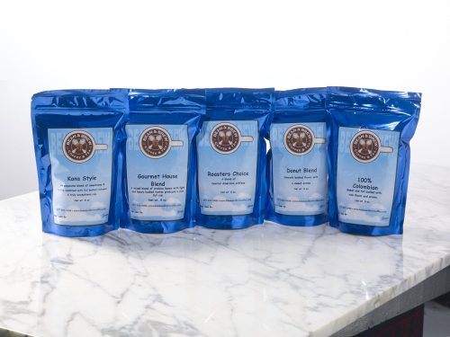 five coffee bean pouches